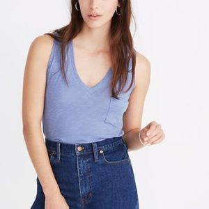 Madewell whisper cotton v-neck tank top blue